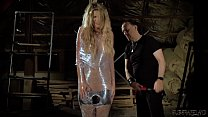 Tied up teen getting fucked hardcore and made to cum hard in a kinky bondage sex video صورة