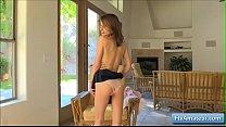 Hot schoolgirl Kristen spread her butt cheeks w...
