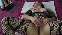 Asian MILF - Pussy Playing While Watching Porn in Black Stockings thumbnail