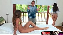 India Summer and Eva Lovia FFM 3way action on the bed
