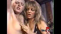 Busty dyke dominatrix punishes sub after playing with her