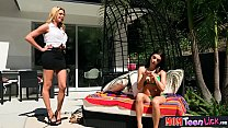 Stepmom teaches busty teen stepdaughter lesbian sex preview image