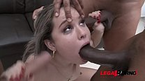Young latina slut Alice Alcantara's loose asshole roughed up & DAP'ed by three huge cocks SZ2021