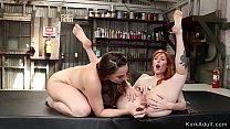 Brunette anal toys gapped ass lesbian