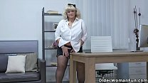 Euro BBW Dita works her pussy with fingers and dildo thumbnail