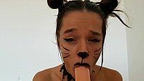 Cute Cat doing a messy Blowjob on dildo