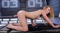 Fast machine in blonds tight pussy