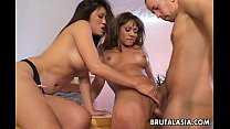 Two super hot Asian bitches sharing a magnificent meat pole