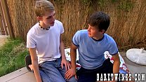 Twink Dylan Chambers sucked off and riding raw dick