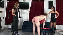 Mistresses flog and trample (help identify black haired mistress)