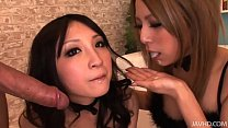 Two horny Japanese honies take control and shar...