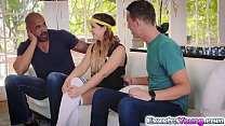 Petite Cleo Vix en 3some with 2 football studs  football studs