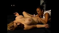 Asian lesbian chick takes a blonde babe customer for massage and ends up fingering her cunt