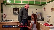 Old man fucks a nice French metisse teen