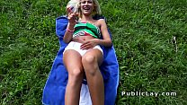 Serbian blonde beauty bangs in the park pov thumbnail