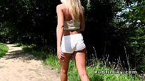 Serbian blonde beauty bangs in the park pov preview image