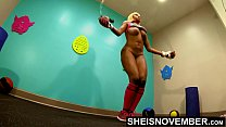 4K Ebony Model Babe Pressured To Jump Rope Naked With Nice Large Rack And Cute Ass , By Horny Boxing Coach Grabbing Her Black Booty During Intense Workout In Public Gym , Wearing Long Pink Socks With Boxing Gloves And Sports Bra Pulled Up Ontop Msnovember