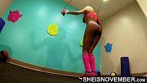 4K Ebony Model Babe Pressured To Jump Rope Naked With Nice Large Rack And Cute Ass , By Horny Boxing Coach Grabbing Her Black Booty During Intense Workout In Public Gym , Wearing Long Pink Socks With Boxing Gloves And Sports Bra Pulled Up Ontop Msnovember صورة