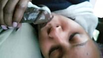 Black girlfriend slurping dick in car's Thumb