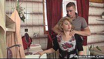 m.-in-law jumps at his big cock as his wife leaves
