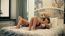 2 Lesbians college roommates have sex in front of teddy bear with a strapon dildo and receives cumshot in mouth. This is free preview trailler from Plushies TV starring Eve S and Rebeka Ruby and plush toy teddy bear Brownie with big black cock preview image