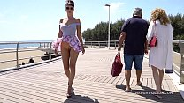 Short skirt and wind. Public flashing... Thumbnail