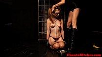 Tied up blonde bdsm sub punished harshly Thumbnail