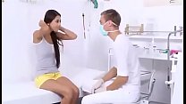 School teen girl cheated by the doctor and fucked hard