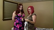 Alt lesbian tgirl nailed with strapon cock