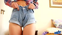 INCREDIBLE Round Ass Busty Blonde Babe in Tight Denim Shorts