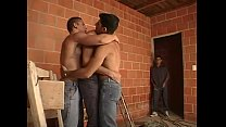 Lewd muscled construction workers after work threesome fucking
