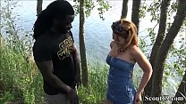 Fluechtling mit Monster Schwanz fickt Teeny mitten am Strand - German Redhead Teen Fuck by Monster Black Dick Public thumbnail