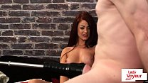 UK babe instructs sub to wank with machine