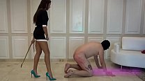 Hot young sadistic mistress teaches her slave a...