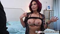 Redhead MILF Ryder Skye blowing stepson and swallows cum POV