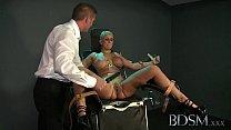 BDSM XXX Master straps big tits submissive girl to a gyno chair thumbnail
