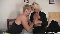 Nice blonde woman pleases neighbor