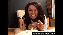 Brunette Amy Anderson gives a harsh handjob thumbnail