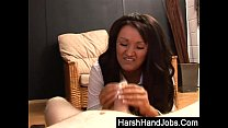 Brunette Amy Anderson gives a harsh handjob preview image