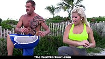 TheRealWorkout - Busty Blonde Trainer Fucks Client tumblr xxx video