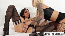 Busty hotties Christy and Kirsten fuck each oth...