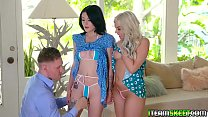 Stud stuffs Allie and Rosalyns pussies full of hard man meat in every angle's Thumb