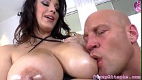 Busty domina pegs and uses toy on her sub