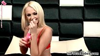 Blonde babe gets naughty's Thumb