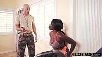 Huge tits ebony fucked by gym coach during training صورة