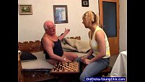 Dirty Old Man Plays Games With Blonde thumbnail