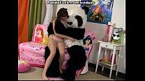Teen cute girl made a wish of Panda bear image