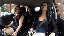 Threesome sex in fake driving school car thumbnail