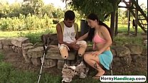 Amputee fucking brunette teen outdoors blowjob-...