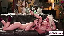 Boss Luna watches her maid squirt on her couch and joins in preview image
